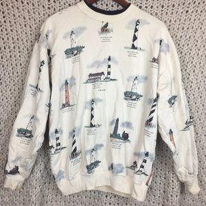 Vintage Lighthouse Sweater Size L